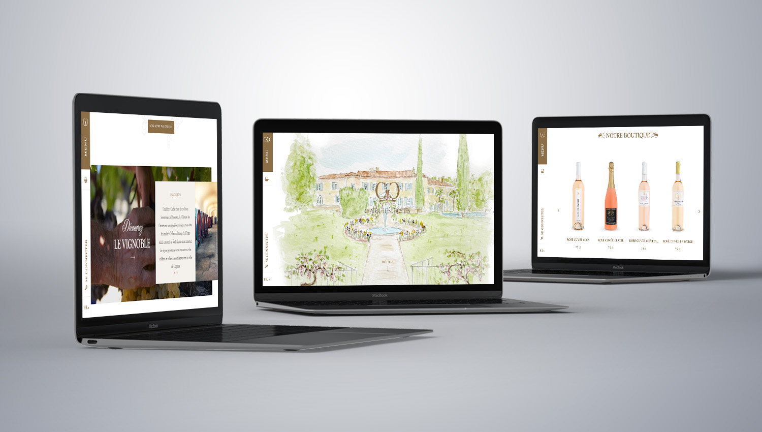 Web design desktop view for Château Les Crostes 1 by 8 Ways