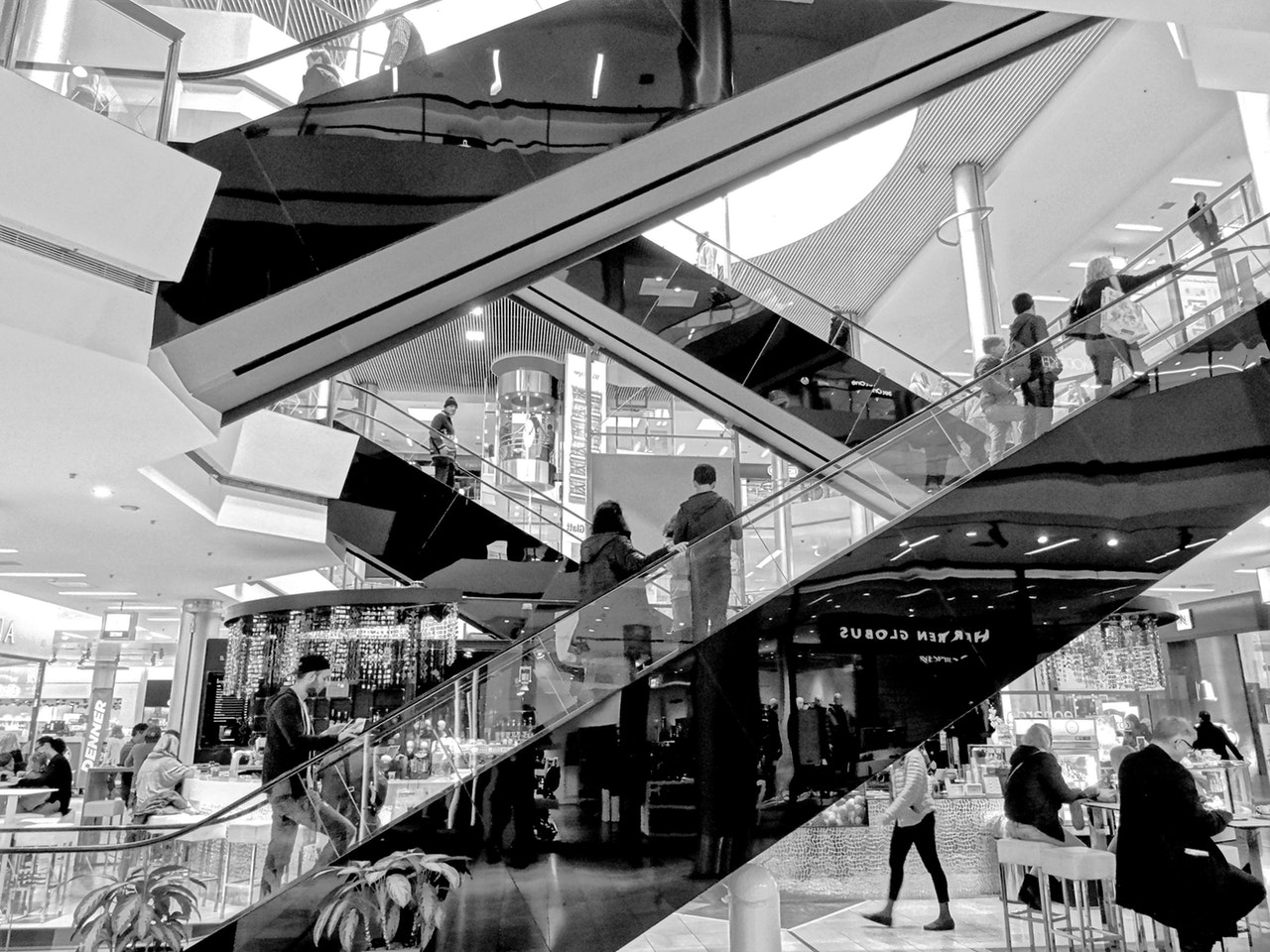 A black and white image of a department store
