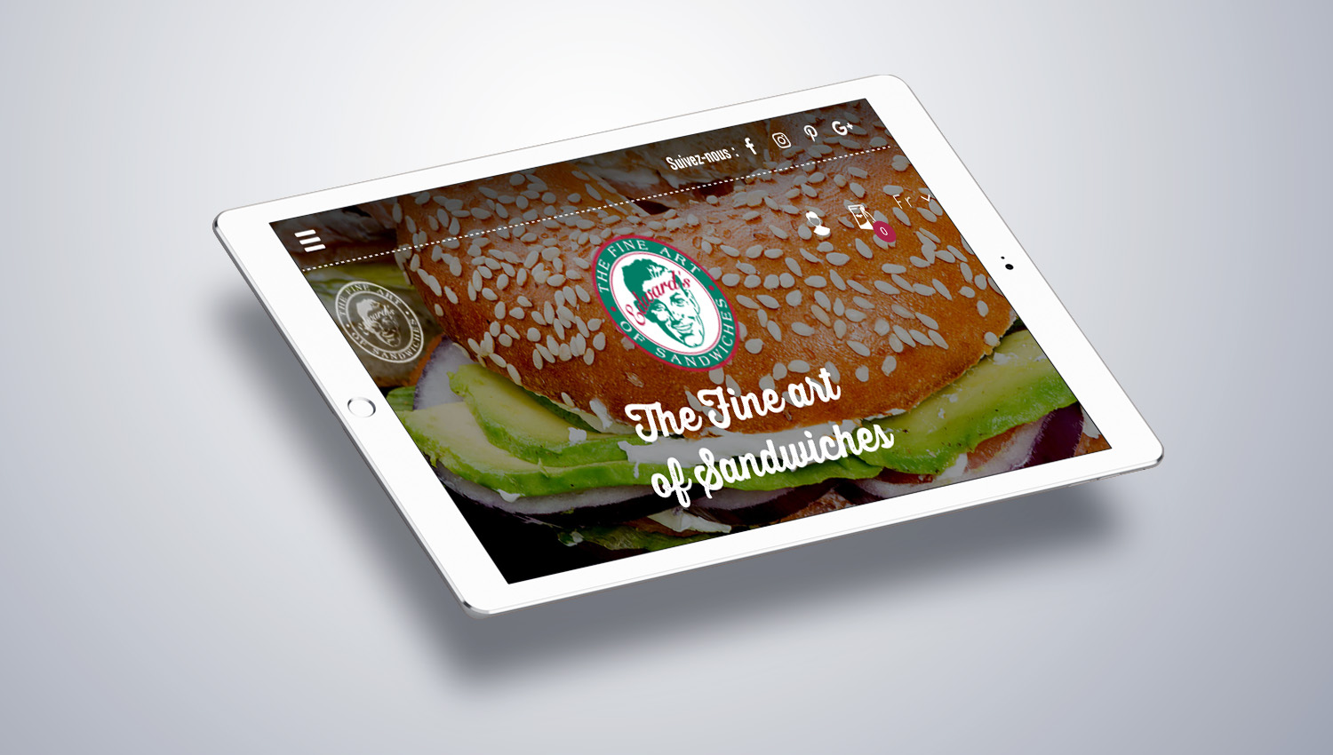 Web design tablet view for Edwards Sandwiches 2 by 8 Ways