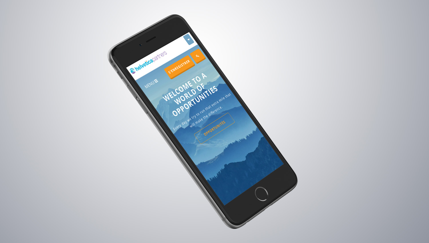 Web design mobile view for Helvetica Partners  3 by 8 Ways