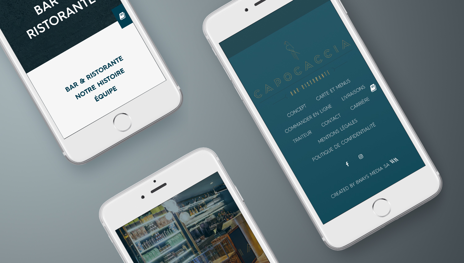 Web design mobile view for Capocaccia 3 by 8 Ways