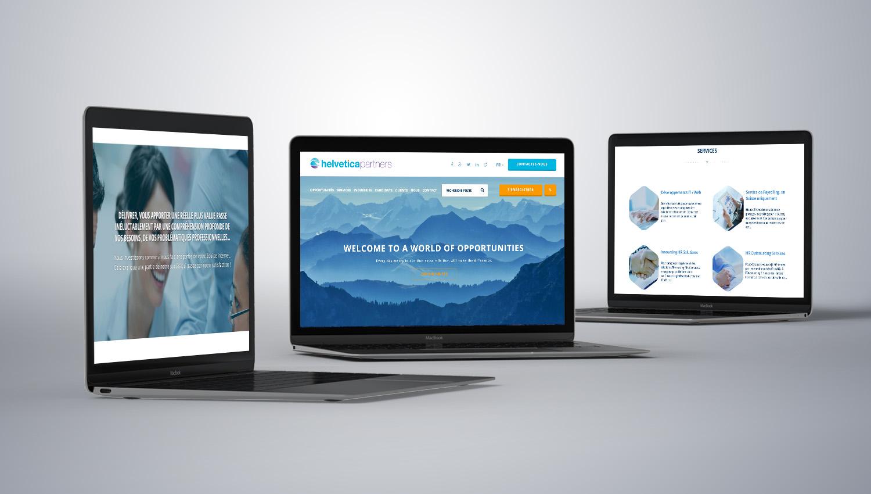 Web design desktop view for Helvetica Partners  1 by 8 Ways