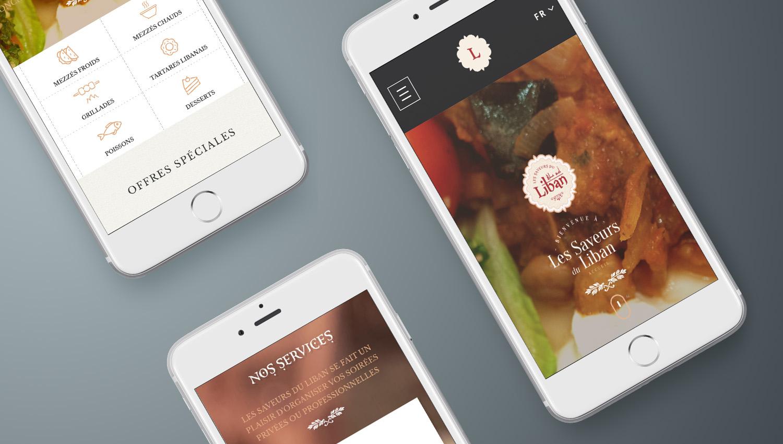Web design mobile view for LEs Saveurs Du Liban 3 by 8 Ways
