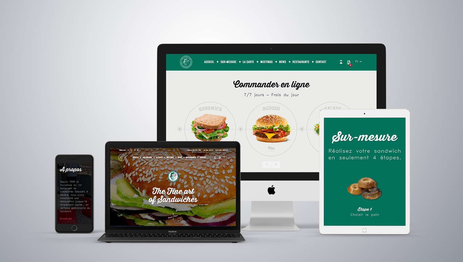 Web design desktop view for Edwards Sandwiches 1 by 8 Ways