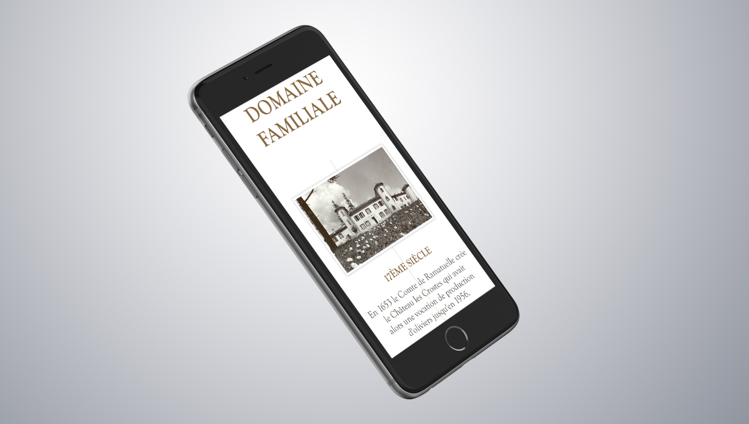 Web design mobile view for Château Les Crostes 3 by 8 Ways