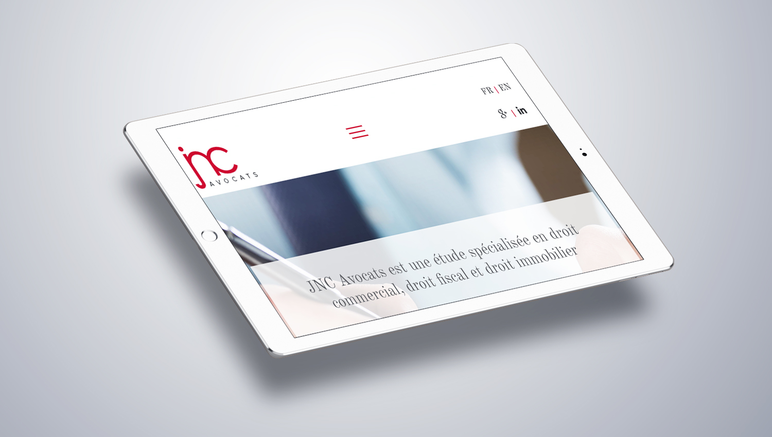 Web design tablet view for JNC Avocats 2 by 8 Ways