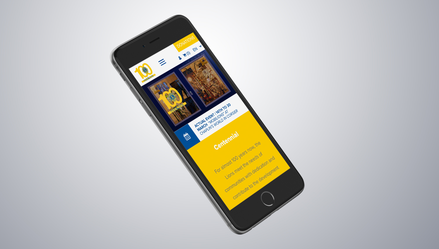 Web design mobile view for Lions Club 3 by 8 Ways