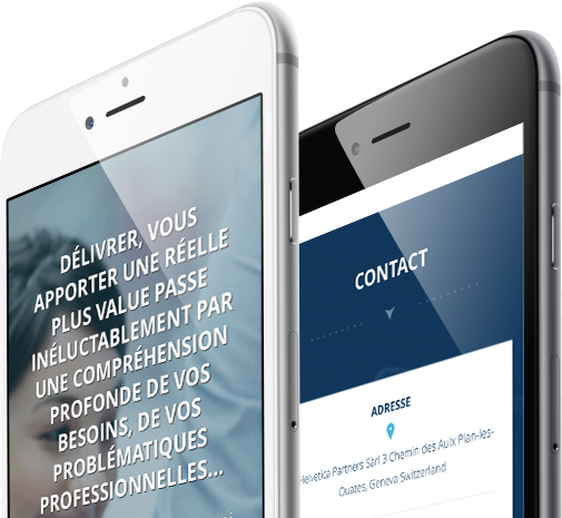 Mobile view design for Helvetica Partners