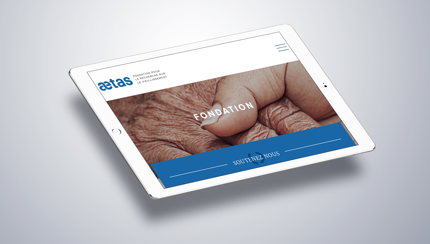 Web design tablet view for Aetas by 8 Ways
