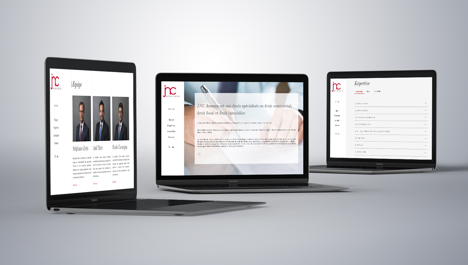 Web design desktop view for JNC Avocats 1 by 8 Ways