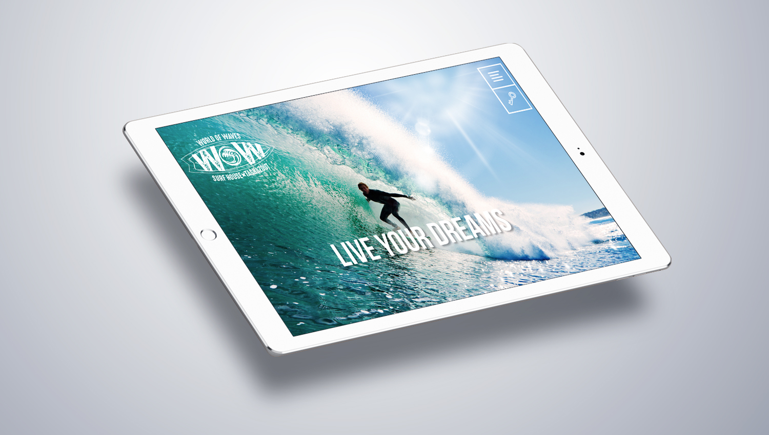 Web design laptop view for Word of Waves 2 by 8 Ways