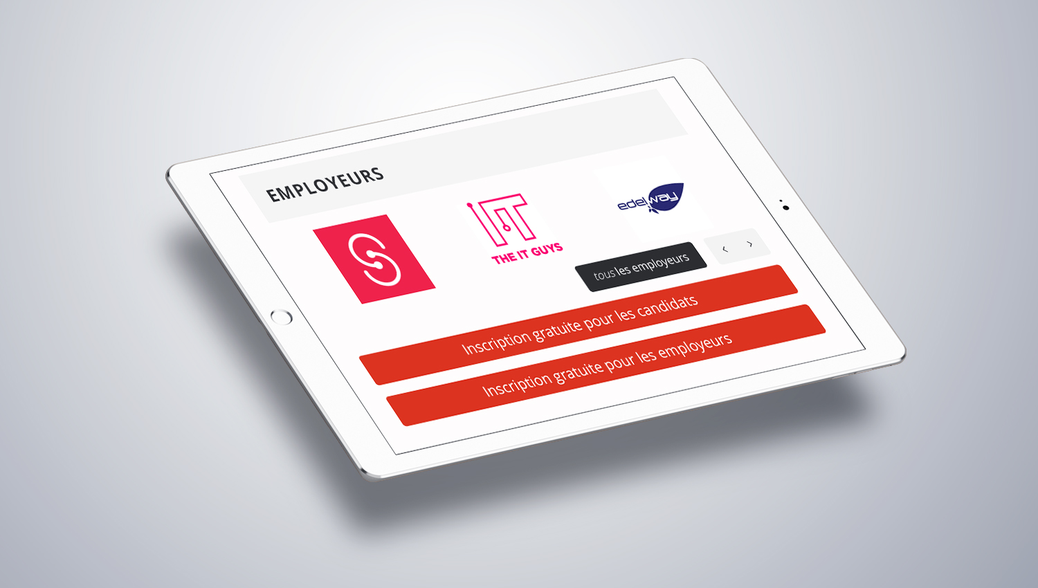 Web design tablet view for Jobies 2 by 8 Ways
