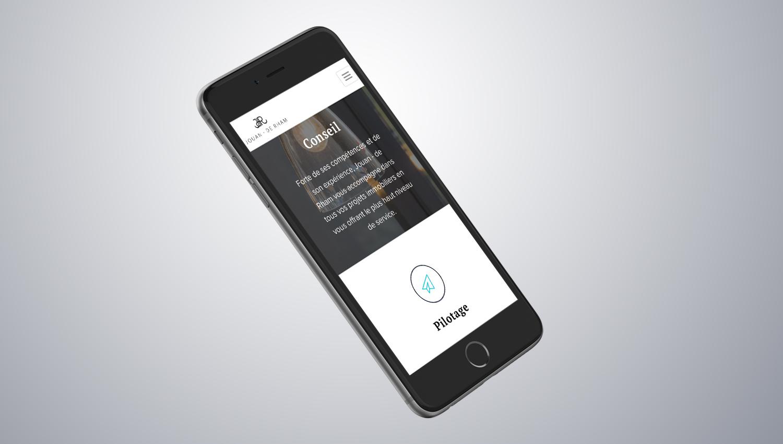 Web design mobile view for Jouan de Rham 3 by 8 Ways